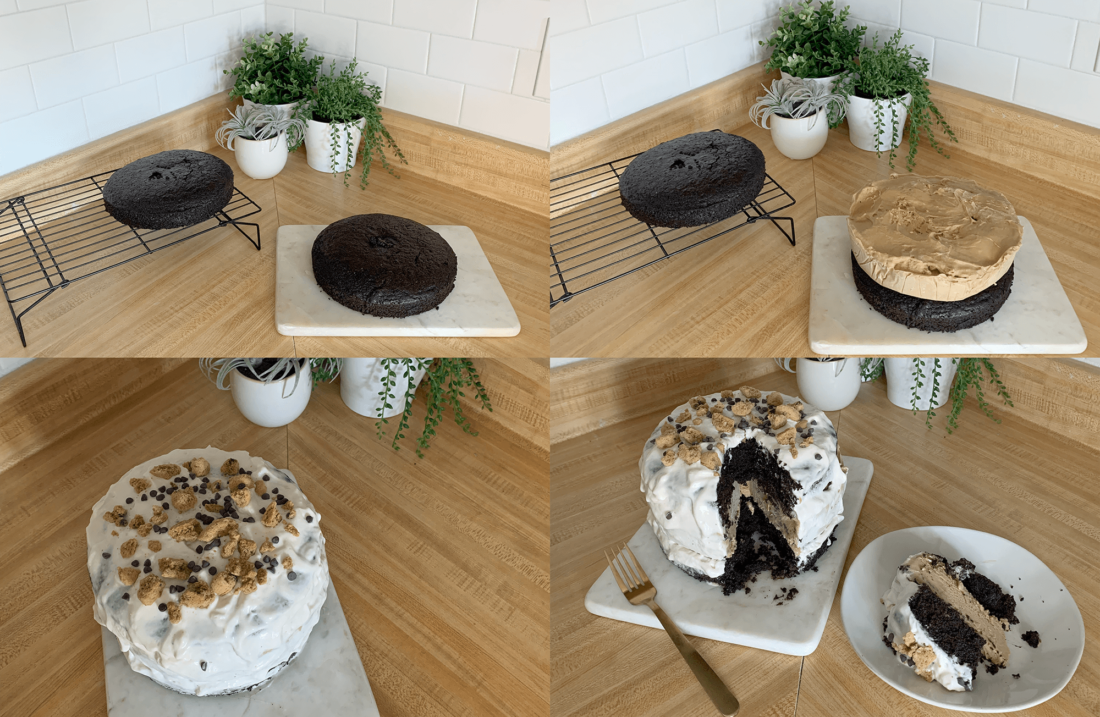 Photo montage of the steps to making homemade plant-based ice cream cake.